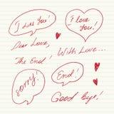 Messages manuscrits d'amour Photo libre de droits