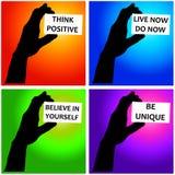 Messages positifs Photographie stock