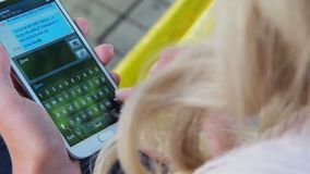 Messages screen on touch phone young woman hands write sms email. Stock footage stock footage