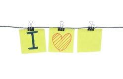 Messaggio adorabile su carta per appunti Fotografia Stock