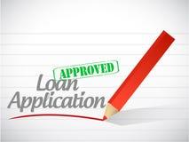 Messaggio approvato del segno di applicazione di prestito illustrazione di stock