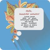 Messaggio ciao, bello autunno! Insegna, manifesto Fotografie Stock Libere da Diritti