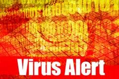 Messaggio d'avvertimento attento del virus Fotografie Stock