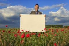 Messaggio dal campo del papavero Fotografie Stock
