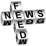 messaggio dei dadi dell'alimentazione di notizie 3D Fotografie Stock Libere da Diritti
