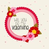 Messaggio del biglietto di S. Valentino nella forma circolare con i fiori Fotografia Stock