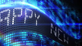 Messaggio del buon anno sullo schermo blu del pixel illustrazione di stock