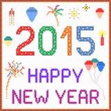 Messaggio 2015 del pixel del nuovo anno Fotografia Stock