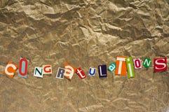 Messaggio delle congratulazioni Fotografia Stock Libera da Diritti