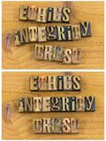 Messaggio dello scritto tipografico di fiducia di integrità di etica Fotografia Stock Libera da Diritti