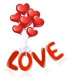 Messaggio di amore con gli aerostati del cuore Immagini Stock