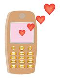 Messaggio di amore del cellulare Fotografia Stock Libera da Diritti