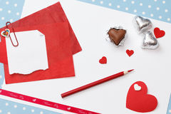 Messaggio di amore di San Valentino, non finito Fotografia Stock Libera da Diritti