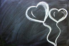 Messaggio di amore L'iscrizione sulla lavagna con gesso immagini stock libere da diritti