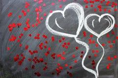 Messaggio di amore L'iscrizione sulla lavagna con gesso fotografie stock