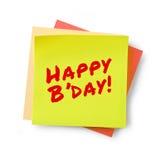 Messaggio di buon compleanno sulla nota adesiva Immagine Stock
