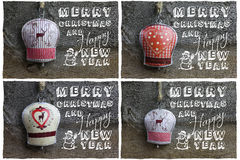 Messaggio di Buon Natale, cervi della decorazione e focolare su Tin Bell, Fotografia Stock Libera da Diritti