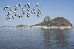Messaggio 2014 di calcio del Brasile Sugarloaf Rio de Janeiro Fotografia Stock Libera da Diritti