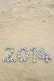 Messaggio 2014 di calcio sulla spiaggia del Brasile Fotografia Stock Libera da Diritti