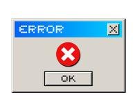 Messaggio di errore Fotografia Stock Libera da Diritti