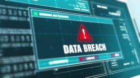 Messaggio di errore di allarme di sicurezza del sistema di allarme della frattura di dati sullo schermo di computer video d archivio