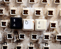 messaggio di errore 404 con i bottoni sporchi della tastiera Immagine Stock