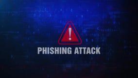 Messaggio di errore d'avvertimento di allarme di attacco di Phishing che lampeggia sullo schermo