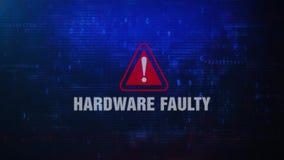 Messaggio di errore d'avvertimento di allarme DIFETTOSO dell'HARDWARE che lampeggia sullo schermo illustrazione di stock