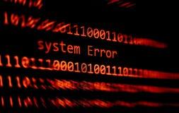Messaggio di errore del sistema di allarme di dati di numero di codice binario di tecnologia sul software di errore dello schermo fotografia stock libera da diritti