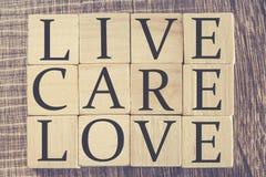 Messaggio di Live Care Love Immagine Stock Libera da Diritti