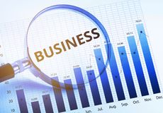 Messaggio di parola di affari con la lente d'ingrandimento e la crescita di affari fotografia stock