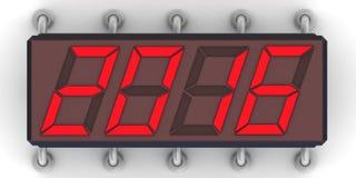 Messaggio 2016 di rosso sull'indicatore elettronico Fotografia Stock