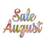 Messaggio di vendita al dettaglio di August Text di vendita Immagine Stock
