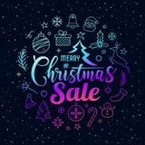 Messaggio di vendita di Buon Natale con forma porpora del cerchio delle icone sulla stella illustrazione vettoriale