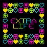 messaggio extra di vita del pixel di 8 bit retro Vettore EPS8 Immagini Stock
