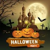 Messaggio felice del partito di Halloween, zucca, concetto di progetto del pipistrello Fotografie Stock