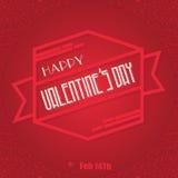 Messaggio felice dell'insegna del nastro di giorno di biglietti di S. Valentino Fotografia Stock