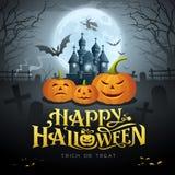 Messaggio felice dell'oro di Halloween, pipistrello della zucca, strega, castello Immagine Stock Libera da Diritti