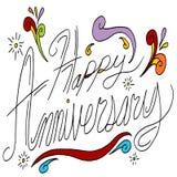 Messaggio felice di anniversario Immagine Stock
