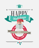Messaggio felice di feste con le illustrazioni Fotografie Stock Libere da Diritti