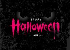 Messaggio felice di rosa di Halloween con l'occhio spettrale su superficie ruvida illustrazione di stock