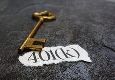messaggio 401K e chiave Fotografia Stock Libera da Diritti