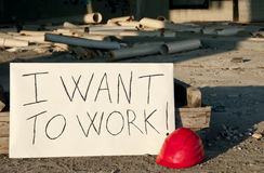 Messaggio opposto a a disoccupazione. Fotografia Stock