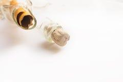 Messaggio rotto pirata reale in una bottiglia sopra Oceano Indiano fotografia stock