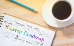 Messaggio Startup della carta stradale di concetto sul libro Immagine Stock