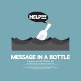 Messaggio in una bottiglia che galleggia nel mare Fotografia Stock Libera da Diritti