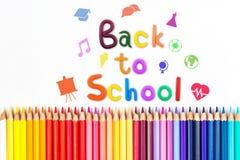 Messaggio & x22; Di nuovo alla scuola & a x22; con la matita di colore Fotografia Stock Libera da Diritti