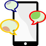 Messaging On A Cellphone. Three colored balloons represent cellphone users communicating through messages on a cellphone device Royalty Free Stock Image
