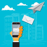 Messaging concept in flat design for web, vector Stock Photo