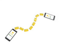 Messaging, texting, chatting 3d concept - two cell phones with m Royalty Free Stock Photo